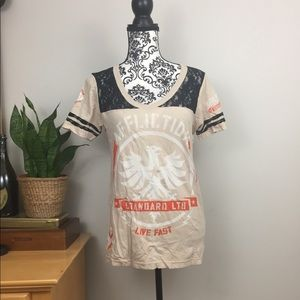 Affliction Tops - Affliction Tan Beige Lace T-shirt